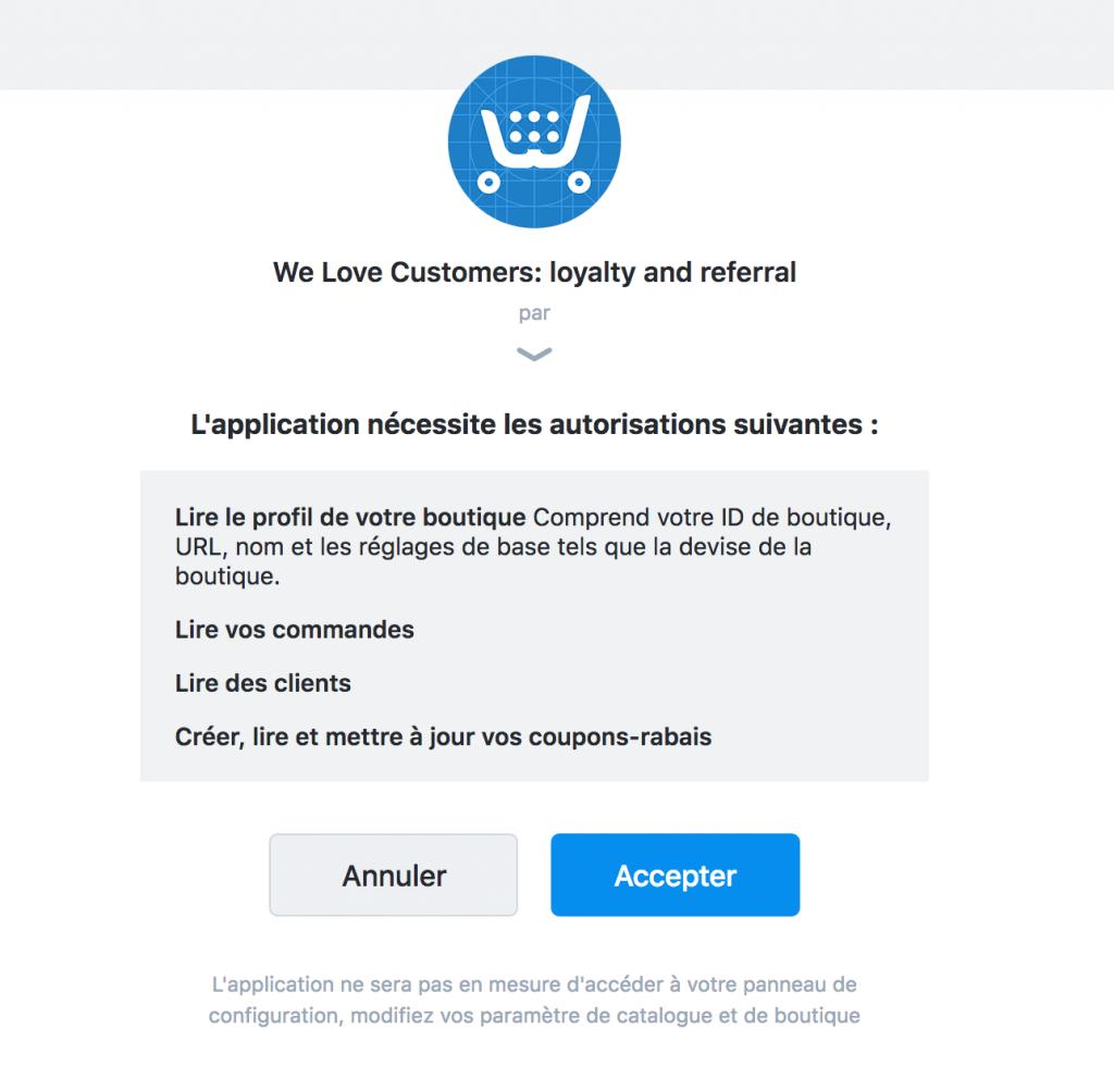 Autorisation interconnexion We Love Customers Ecwid