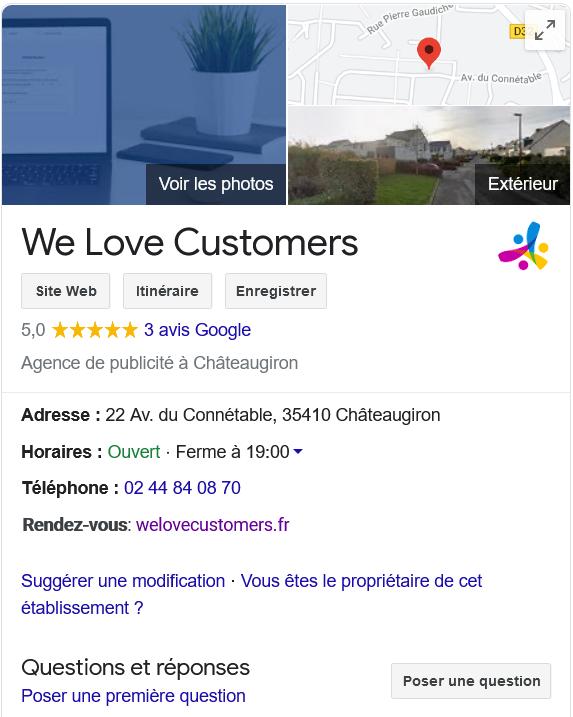 Fiche Google My Business de We Love Customers