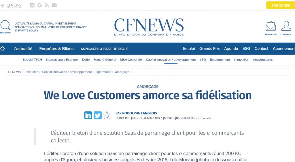 Revue de presse Levée de fonds We Love Customers - CF NEWS